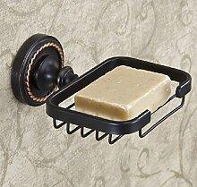 MIWANG Schwarz Bronze, europäischen Stil mit antiken, alle Kupfer Anhänger Set, Badezimmer Regal, Schwarz Bronze Seife Ne