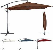 Miweba Aluminium Sonnenschirm Sunny 350cm Durchmesser 50+ UV Schutz inklusive Schutzhülle Ampelschirm Marktschirm Kurbelschirm Gartenschirm (Braun)