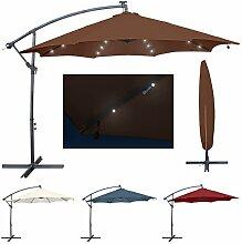 Miweba Aluminium Sonnenschirm Sunny mit LED 300cm Durchmesser 50+ UV Schutz Inklusive Schutzhülle Ampelschirm Marktschirm Kurbelschirm Gartenschirm (Braun)