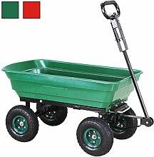 Miweba Bolllerwagen Kippwagen Schubkarre Gartenwagen Karre Handwagen Kippkarre 300Kg Traglast mit Kippfunktion 10 Zoll Luftreifen (Grün)