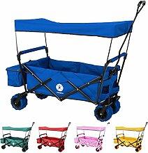 Miweba faltbarer Bollerwagen Handwagen Transportwagen Karre Strand Gartenwagen MB-10 mit Bremse, Dach, PU-Breitreifen und Transporttasche in vielen Farben (Blau)
