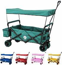 Miweba faltbarer Bollerwagen Handwagen Transportwagen Karre Strand Gartenwagen MB-10 mit Bremse, Dach, PU-Breitreifen und Transporttasche in vielen Farben (Grün)