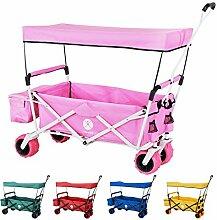 Miweba faltbarer Bollerwagen Handwagen Transportwagen Karre Strand Gartenwagen MB-10 mit Bremse, Dach, PU-Breitreifen und Transporttasche in vielen Farben (Pink)