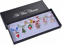 Mixed Silber Weihnachtsbaum Schneemann Wein Glas Charms Marker Set von 6, antik silber