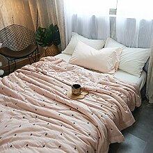 mixinni® Dünne Sommerdecke mit Sterne Muster Bettwäsche Baumwolle Tagesdecke für Frühling Sommer