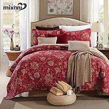 mixinni® Rot Blumen Druckstoff 100% Baumwolle Tagesdecke Gesteppte Decke Sommerdecke Patchwork Tagesdecke Idyllisch Bettwäsche Set Steppdecke Bettüberwurf Bettdecke Quilt 230x235cm