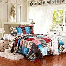 mixinni® Tagesdecke 100% Baumwolle Lila Quilt Set Blumen Stil Sommerdecke Quilt Patchwork Steppdecke Gesteppte Sommer Decke (230cm x 250cm, Lila)