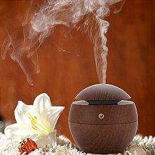 Miyare 130ml Mini Luftbefeuchter Aroma Diffusor USB Raumbefeuchter HumidifierGeeignet Holzmaserung für Auto,Babies, Yoga, SPA, Kinderzimmer, Schlafzimmer, Wohnzimmer und Büro (Braun)