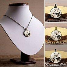 MJK Halsketten, Geschenk Eulen Glas Cabochon