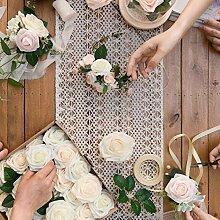 MJK Tischläufer, Creme Crochet Lace Tischdecke