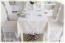 MJY Tischdecken, Leinen Tischdecke mit Spitze für
