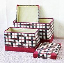 mk-color Grid Kunstleder Falt-Aufbewahrungsbox Aufbewahrungsbox Fusshocker Sundry Waren Hocker mit Aufbewahrung, weinrot, 49*31*31cm