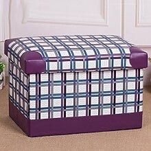 mk-color Grid Kunstleder Falt-Aufbewahrungsbox Aufbewahrungsbox Fusshocker Sundry Waren Hocker mit Aufbewahrung, violett, 49*31*31cm