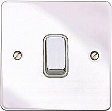 MK Edge k14371Poc W Single Lichtschalter, 1-Gang, Chrom poliert, 20A, Single Pole