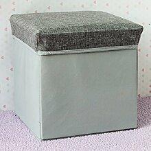 mk-foldable grau Baumwolle Hocker Hocker Hocker–Gewebtes Hocker, quadratisch mit Stauraum