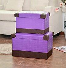 mk-folding Creative Home Täglich Aufbewahrungsbox Fuß, Hocker Sundry Waren Hocker mit Aufbewahrung, violett, 40*25*25cm