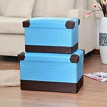 mk-folding Creative Home Täglich Aufbewahrungsbox Fuß, Hocker Sundry Waren Hocker mit Aufbewahrung, blau, 49*30*30cm