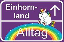 MK-Schönes - Einhorn-Land Alltag Orts-Schild Deko
