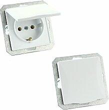 MKK - 18067-001 - Steckdose Lichtschalter Taster ohne Rahmen Unterrputz Jalousieschalter weiß sand Steckdose mit Abdeckung Weiß