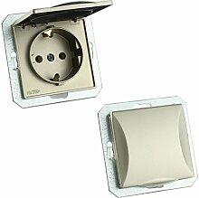 MKK - 18067-002 - Steckdose Lichtschalter Taster ohne Rahmen Unterrputz Jalousieschalter weiß sand Steckdose mit Abdeckung Sand