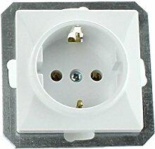 MKK - 18067-003 - Steckdose Lichtschalter Taster ohne Rahmen Unterrputz Jalousieschalter weiß sand Steckdose ohne Abdeckung Weiß