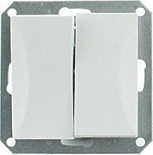 MKK - 18067-013 - Steckdose Lichtschalter Taster ohne Rahmen Unterrputz Jalousieschalter weiß sand Serienwechselschalter Weiß