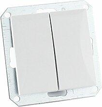 MKK - 18067-023 - Steckdose Lichtschalter Taster ohne Rahmen Unterrputz Jalousieschalter weiß sand Taster: Serientaster Weiß
