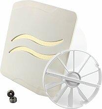 MKK - 18216-002 - WAVE Badlüfter Wohnraumlüfter Rückstauklappe Kugellager Turbo Ventilator Zugschalter Ø 100 mm - flotti Creme weiß/gold