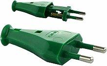 MKK - 18242-003 - Eurostecker ohne Kabel Netzstecker Flachstecker Stecker 2-polig grün