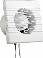 MKK Badlüfter Lüfter mit Zugschalter Ø 100 mm aus Kunststoff in weiß für Küche Badezimer Wohnzimmer Ventilator Abluf