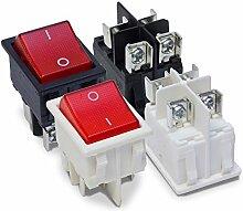 MKK - Wippschalter Kippschalter Wippenschalter 250V 16A Einbauschalter 2 Polig Roter Ein- Aus- Schalter Weiß