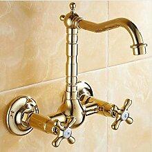 Mkkwp Hochwertige Messing Gold Becken Wasserhahn