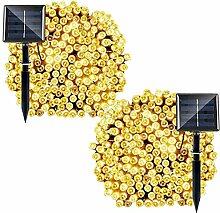 MKT® Solar Lichterkette Außen mit 200 LED 8 Modi wasserdicht für Ambiance Beleuchtung Patio Rasen Landschaft Garden Yard Hochzeit Weihnachtsbaum (Warmes Weiß) (Pack 2)