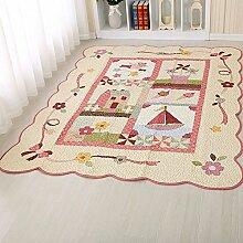 MKXI® Baumwolle Weich Kinderteppich Spielteppich, Patchwork Teppich Rutschfest Spielmatte für Kinder und Babys Schlafzimmer Grösse: 160x210c Rosa-ferner Traum