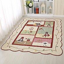 MKXI® Baumwolle Weich Kinderteppich Spielteppich, Patchwork Teppich Rutschfest Spielmatte für Kinder und Babys Schlafzimmer Grösse: 160x210c Rot-Kindhei