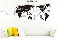 Mkxiaowei PVC-Wand-Aufkleber-Studienbüro Schlafzimmer/Wohnzimmer können Welt Karte Aufkleber entfernen.