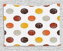 MLNHY Basketball Tapestry, Ball Pattern in Earthen
