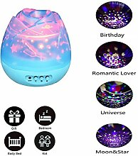 MMilelo Baby Nachtlicht Sternhimmel Projektor Nachtlichter mit USB Kabel LED Nachtlicht Projektor Lampe Kinder Nachttischlampe für Geburtstag Weihnachten Hochzeit Party Schlafzimmer Haus Dekoration (Blau)