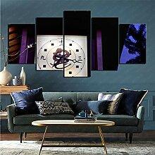 mmkow Wandbild 5 Stück Set Künstliche Uhr Bild