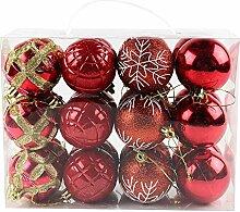 MMLsure Weihnachtskugel Türkis Plastik, 24 Stück