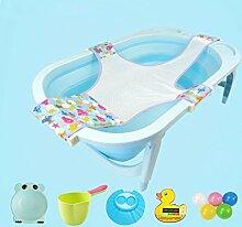 MMM- Baby-Badewanne mit Badewanne Net Folding Badewanne Neugeborenen liefert Baby kann sitzen und legen Bad Kinder große dickere Badewanne Geeignet für 0-12 Monate Baby zu verwenden (Farbe : Blau)