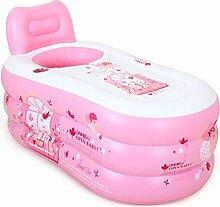MMM- Einfache aufblasbare Badewanne Erwachsene Haushalt Badewanne Plastic Kinder Folding Große Verdickung ( Farbe : Pink , größe : 150*85*75cm )