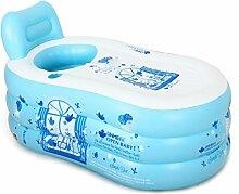 MMM- Einfache aufblasbare Badewanne Erwachsene Haushalt Badewanne Plastic Kinder Folding Große Verdickung ( Farbe : Blau , größe : 130*70*70cm )