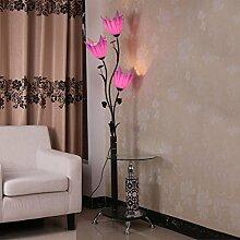 MMM- Eisen Couchtisch Stehleuchten Moderne chinesische Minimalist Mode Stehlampe mit Teetisch Vertikale Beleuchtung ( Farbe : Lila )