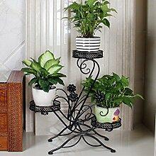 MMM& Iron Flower Racks Multilayer Balkon Indoor Landing Regal Europäische Stil Einfache Wohnzimmer Blumentopf Rahmen ( Farbe : Schwarz )