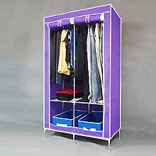 MMM& Stahlrahmen Verstärkt Dicke Einfache Kleiderschrank Faltmontage Große Einzelne Kleiderschränke Speicher Schrank ( farbe : Lila )