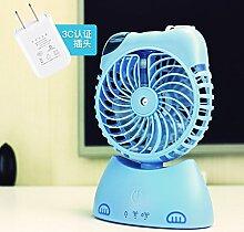 MMNDJYIN Multifunktionale mini Kältetechnik kleinen Ventilator Office Student desktop Sprühwasser Luftbefeuchter USB Ventilator, Blau (neuer Stil)