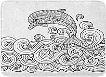 MMPTN Badezimmermatte weiche saugfähige Delphin