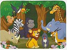 MMPTn Tierbadematte Cartoon-Stil Elefant Gazelle