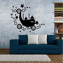 mmwin Mond Schloss Sterne Cartoon Mode Muster